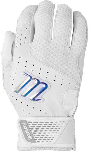 Batting Glove Crest Batting Glove Marucci Sports White Crest Batting Glove White//White Adult Medium MBGCRST-W-AM