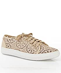 Women's Floral Lace Lace Up Low Top Sneaker BEIGE LACE (7)