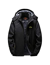 kingfansion Mens Soft Shell Jacket Winter Outdoor Cashmere Hoodie Sport Coat