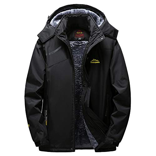 (Clearance Mens Jacket! Pervobs Mens Winter Warm Windbreaker Jacket Fleece Liner Outdoor Hoodie Parka Sport Assault Coat(5XL, Black))
