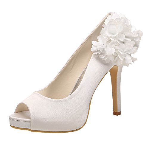 M MULGARIA Women High Heel Pumps Platform Peep Toe Flowers Satin Evening Prom Wedding Shoes (EU 37/6B(M) US, White)