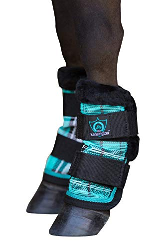 (Kensington Pony Fly Boots with Comfortable Fleece Trim Protection from Insect Bites and UV Rays, Black Ice Plaid (Set of 4))