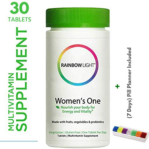 Rainbow Light - Women's One Multivitamin Suplement (30 Tablets + Pill Box) - Supports Heart, Breast, Bone, Skin & Immune Health - Gluten Free, Vegetarian, One Tablet per Day