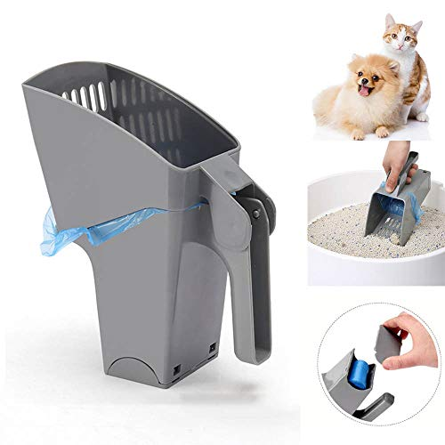 VSTYLE Cat Litter Scoop, Bring Own Trash Can Integrated Kitty Litter Scoops with Waste Bag Cat Litter Shovel Feces…