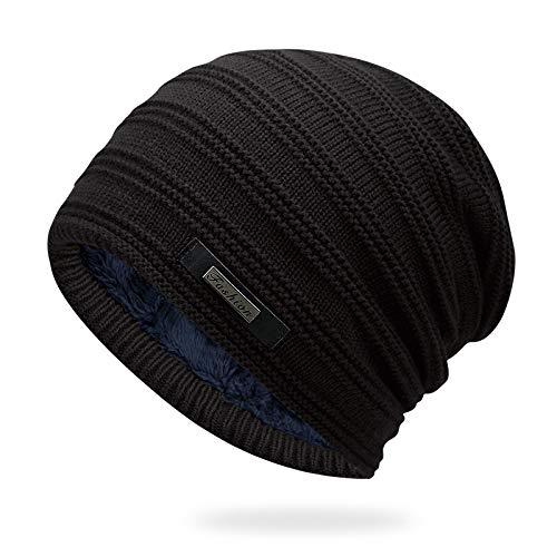 ZhangHongJ,Gorro de Lana Caliente + Tamaño Promedio para Circunferencia de la Cabeza de 56-60cm(Color:Negro)