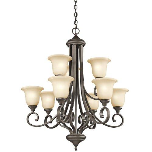 Kichler Lighting 43159OZ Monroe 9-Light 2-Tier Chandelier with Light Umber Etched Glass, Olde Bronze Finish