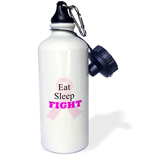 3dRose Pink Ribbon with The Words Eat, Sleep, Fight-Sports Water Bottle, 21oz (wb_211119_1), Multicolored