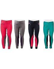 PFIFF 102603 Kinder Reitleggings Ella Stoff Besatz Reithose Mädchenreithose, Pink/Grau 158 Pantalones de equitación, Infantil, Gris/Rosa