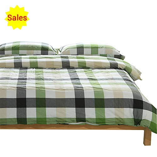OTOB Checkered Grid Simple Style Queen Bedding Set for Kids Teens Adults Boys Girls 3-Piece 100% Washed Cotton Gingham Plaid Duvet Cover Queen Sets with Pillow Shams,Ultra Soft Easy Care(Full,Green)