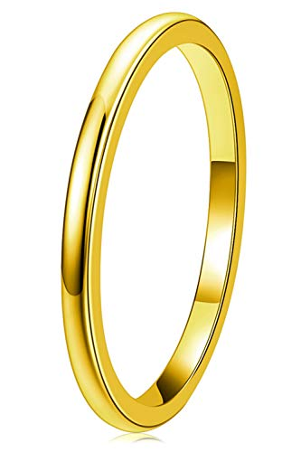 THREE KEYS JEWELRY Women Wedding Bands 2mm Gold Tungsten Carbide Ring with Jewels Domed Polished Infinity Unique for Her Size 5.5