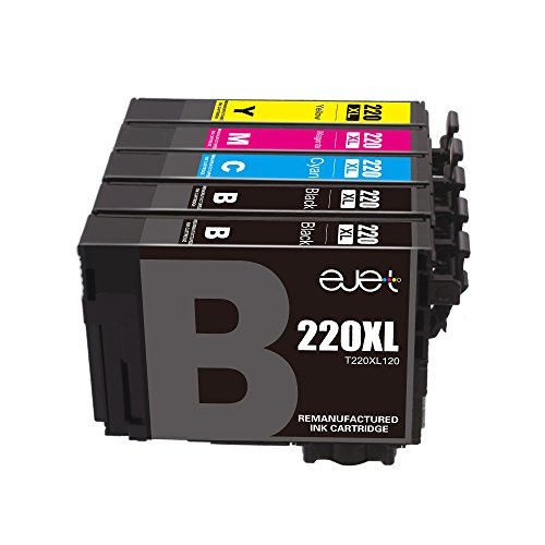 E-jet Remanufactured for epson 220 220XL Ink Cartridge, High Capacity, 5 Multipack for Epson WorkForce WF-2760 WF-2750 WF-2630 WF-2650 WF-2660 XP-420 XP-424 Printer