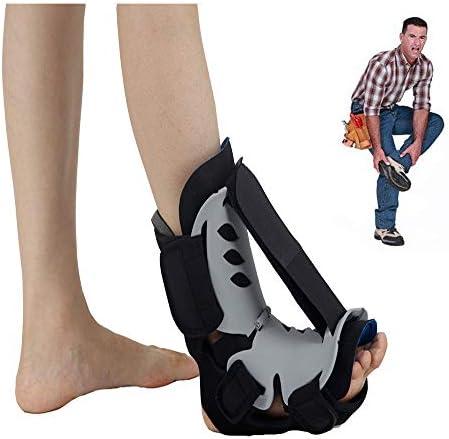足底筋膜炎装具、男性と女性のためのストラップブレース調節可能な足底筋膜炎ナイトスプリント膝ブレース足首ブレースサポートフットレストソフトで痛みを軽減しやすい