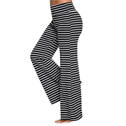 A Donna Pantaloni Dritti Eleganti Waist Elasticit Larghi Righe Estivi High Cqwwg1nXp