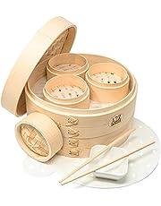 "A2Z HOMEBRANDS 10"" Bamboo Steamer Basket - Makes Tasty Bao Buns, Sashimi - Sturdy Dumpling Steamer Basket Includes 20 Liners - Multipurpose Bamboo Steamer 10 Inch + 4 Inch Set - Mini Dim Sum Steamer"