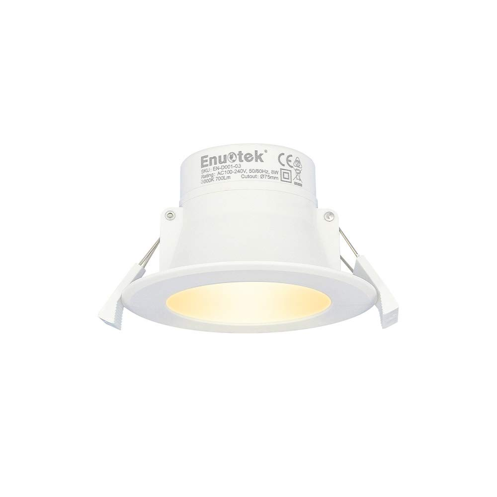 Lampara Plafone LED Foco Empotrable de Techo 8W Downlight LED Luz Calida 3000K AC100~240V 70-85MM Diámetro de Instalación IP44 para Cocina Baño Salon ...