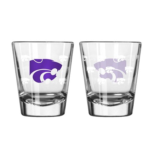 Boelter Brands NCAA Kansas State Wildcats Shot GlassSatin Etch Style 2 Pack, Team Color, One Size