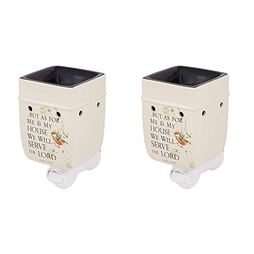 Elanze Designs As for Me and My House Joshua 24:15 Ceramic Stone Plug-in Outlet Wax Oil Warmer, 2 Pack