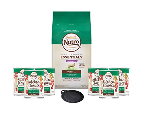 Nutro Dog Food Grain Free-Adult Recipe With Lamb & Rice Small Bites Dry Dog Food 1-5lb bag 6 Kitchen Classics Adult Wet Dog Food Lamb & Vegetables Dinner 12.5 oz Cans 1 Lid 1 Dog Toy