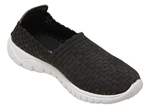 Top Moda Sky-1 Tissu Élastique Pour Femme Casualb Tissé Tressé Tresse Slip Sur Confort Chaussures Noir