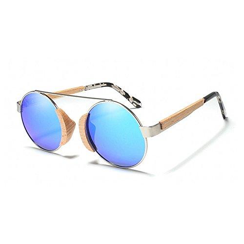de protección sol metálico de de Retro vendimia sol de la Gafas Gafas las sol polarizadas de Gafas de Gafas Classic redondo de de UV madera Azul conduc marco unisex de mujeres para sol de sol Hombres gafas qxZnxYwCF