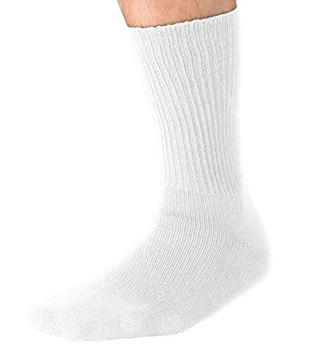 Socks White Diabetic Ribbed (Grandeur Hosiery Men's Big and Tall King Size Diabetic Non-Binding Comfort Top Mid Calf Cotton Crew Socks 3-Pack White X-Large)