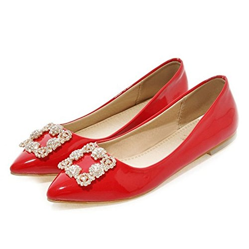 SJJH Red Toe Plus with Patent and Pointed Flats Women Shoes Leather Court with rwR7rB