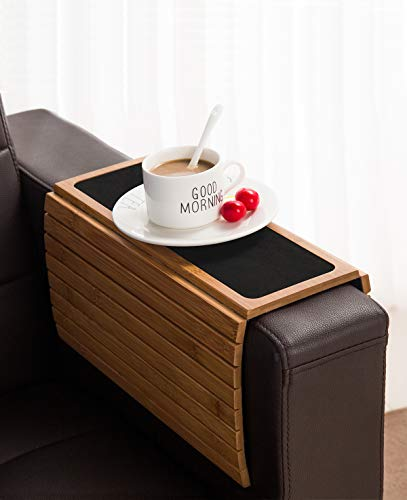 Bamboo Wood Sofa Arm Tray Table Anti-Slip Armrest Organizer Protector Drink Holder Coaster
