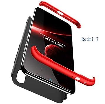 Compatible Xiaomi Redmi 7 Funda(2018)Carcasa 360° ultra fina Protectora cojín+Vidrio Templado Pantalla Protector,3 in 1 PC Hard Caja Caso Skin Case ...