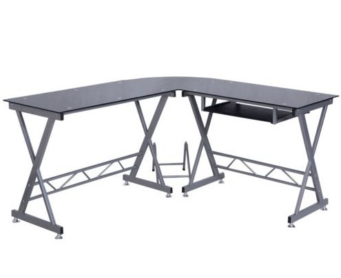 Amazon.com: L Shape Computer Desk PC Glass Top Laptop Table Workstation  Corner Home Office: Kitchen U0026 Dining