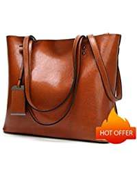 Women Greased Leather Tote Bag Shoulder Bags Top Handle Bag Satchel Bag 3bd7c8cce2ca8
