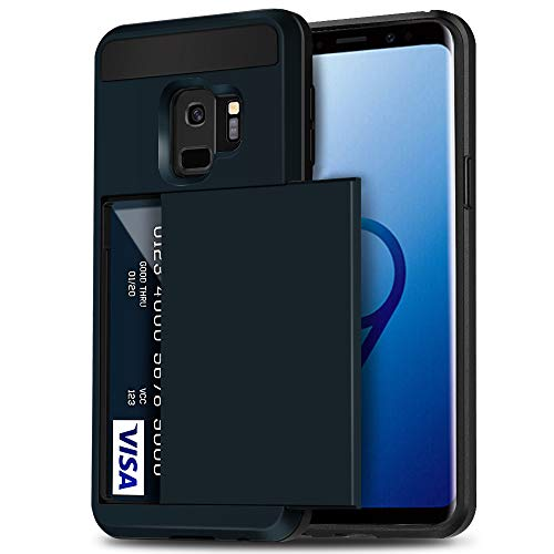 Galaxy S9 Case, Anuck Shockproof Galaxy S9 Wallet Case [Credit Card Pocket] Anti-Scratch Hybrid Protective Hard Shell Soft Rubber Bumper Cover with Card Slot Holder for Samsung Galaxy S9 - Dark Blue