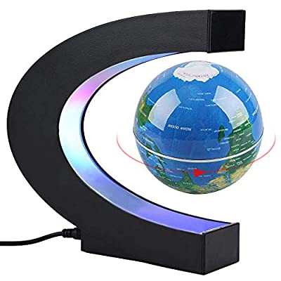 CEStore C Shape Magnetic Levitation Floating World Map Globe Rotating Mysteriously Suspended in Air with LED Lights for Learning/Teaching Demo Home Office Desk Decoration Christmas Gift (Blue): Toys & Games