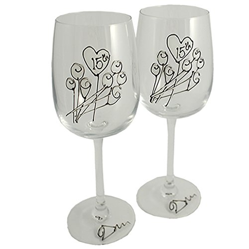 15th Wedding Anniversary Pair of Wine Glasses (Flower)