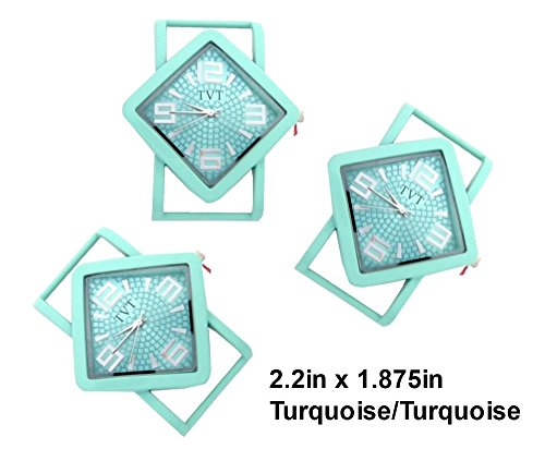 TVT 2pcs Diamond Ribbon Watch Faces for Interchangeable Beaded Bands 5788TVT-2 (2 Turq/Turq)