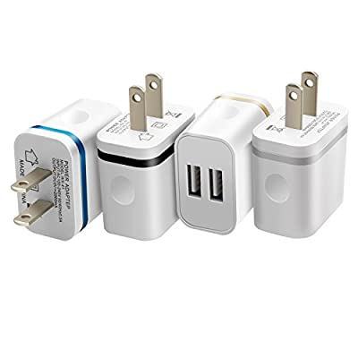 Costyle 4-Pack 5V/2.0Amp Dual USB 2-port Easy Grip Home Travel Wall Charger Adapter for iPhone SE 6 5S, iPad Air Mini, Samsung Galaxy Note 5 4, Motorola, Sony and Most Device by Costyle