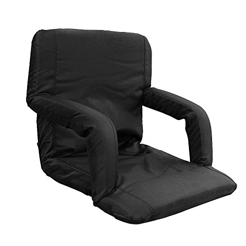Tcamp Stadium Seat Chair for Bleachers or Benches - Enjoy Padded Cushion Backs and Armrest Support - 6 Reclining Custom Fit Sport Positions - Portable with Easy to Carry Straps (Black, Standard)