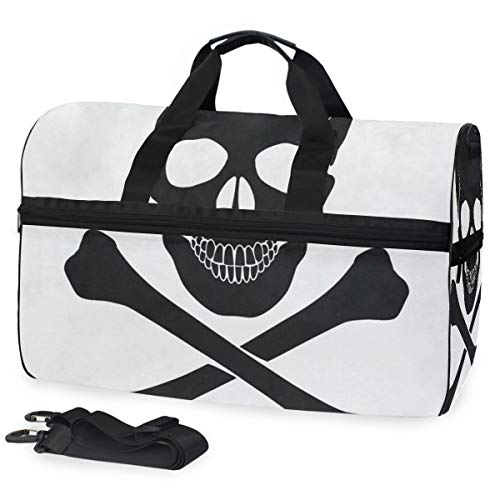 Gym Bag Skull Crossbones Icon Sport Travel Duffel Bag with Shoes Compartment Large Capacity for Men/Women