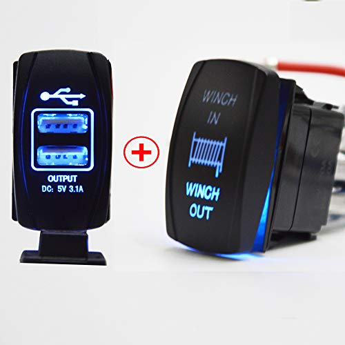 Dasen 7 Pin Momentary Laser Winch In/Out Rocker Switch and Universal Rocker Style Car USB Charger