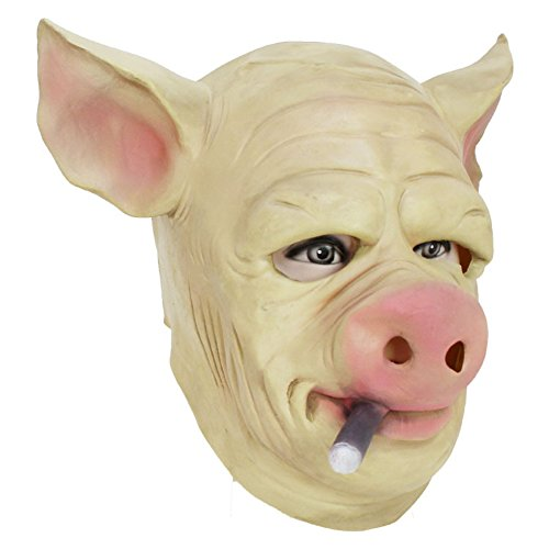 Real Predator Mask (QTMY Latex Rubber Animal Pig Mask for Halloween Party Costume)