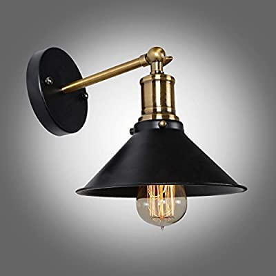 Metal Wall Sconce Lamp, ALLOMN Vintage Industrial Loft Copper Metal Shade Wall Light Lamp Fixtures with 4W E27 COB Edison Bulb