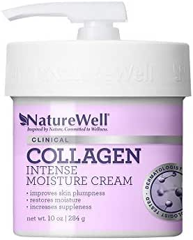 NatureWell Collagen Intense, Immediately Hydrating, Paraben and Dye Free Moisturizing Cream, for Face and Body, 10 oz.