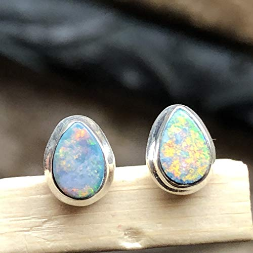 Genuine Australian Pink, Blue, Green Opal 925 Solid Sterling Silver Stud Earrings 7mm Long