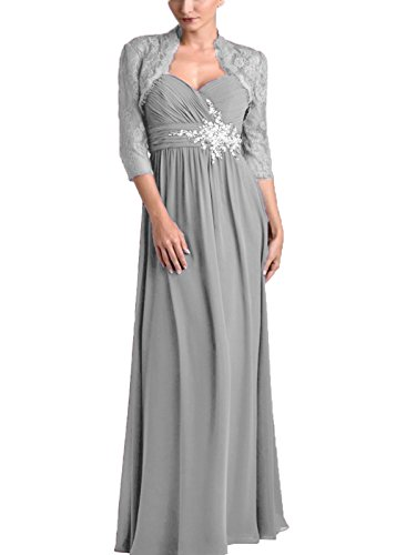 Chiffon Pleats Evening Gown - Pretygirl Women's Pleat Chiffon Mother of The Bride Dress with Lace Jacket Beads Long Evening Prom Gown(US 20W, Silver Grey)