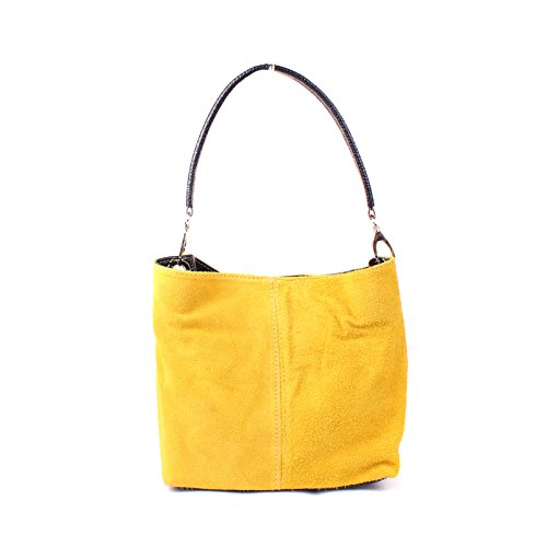 Slouch Aossta Bag Italian Yellow Medium Real Shoulder Hobo Ladies Tote Suede Leather Handbag 4vB4gqP