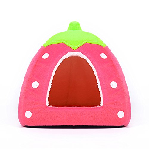 Spring Fever Strawberry Guinea Pigs Fleece House Rabbit Cat Pet Small Animal Bed Pink S (12.212.20.8 inch)