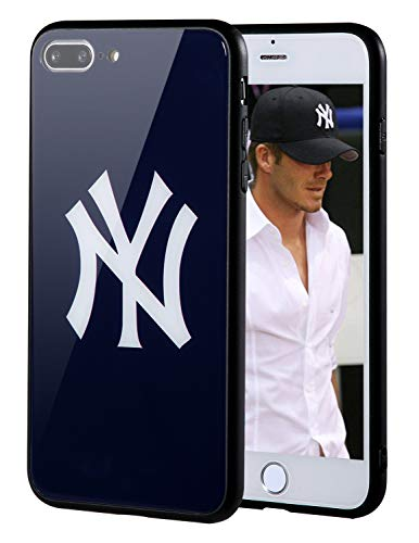 """Sportula MLB Phone Case Compatible for Apple iPhone 7 Plus, iPhone 8 Plus (5.5""""), Non-Fading Tempered Glass Cover, Hard PC Protective Board, Reinforced TPU Bumper Hybrid Case (New York Yankees) ()"""