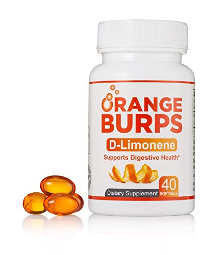 MIH Products | Orange Burps D-Limonene Capsules | All-Natural Orange Peel Extract Acid Reflux & Heartburn Dietary Supplement | Gluten-Free | 1 Bottle Containing 40 Soft Gel Capsules | 500MG Each