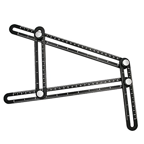 DIY-ers Craftsmen Black 4 sided BLENDX Template Tool//Layout Tool Premium Aluminum Alloy Multi Angle Measuring Ruler Professional Tool for Man Handymen Builders