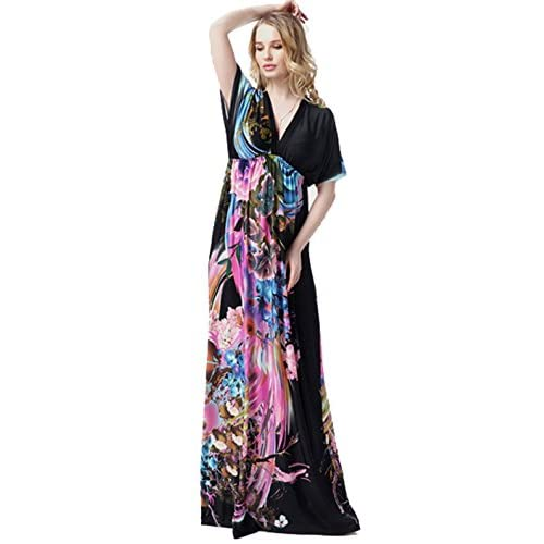 Jusfitsu Womens Boho Long Maxi Dress Bat Sleeve Sundress Plus Size