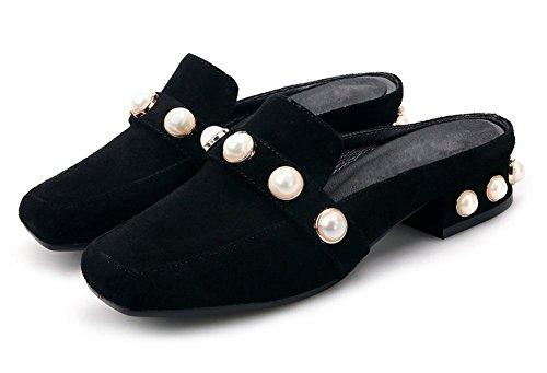 de sandalias la sandalias de y negro de verano cuadradas deslizadores perlas mujer qfrwzSOq